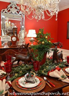 Christmas table setting with a natural centerpiece