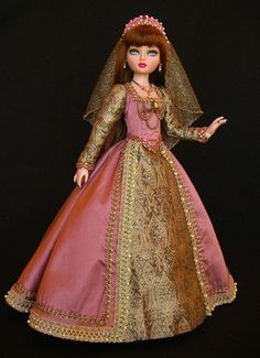 OOAK Historical Era Gown of mauve rose silk/cotton by WS for Ellowyne Wilde, by jkinmcd via eBay, SOLD 3/5/15  $182.50