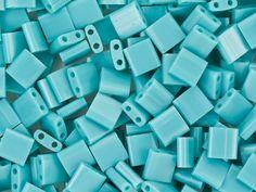 Miyuki 5mm Opaque Aqua Tila Square Bead 8g Pack