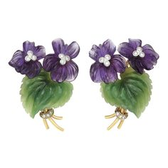 """Pair Of Gold, Carved Amethyst And Nephrite And Diamond Ear Clips, Signed """"Demner, NY-Vienna"""" - Doyle New York Color Change Sapphire, Shades Of Violet, Diamond Earing, Flower Center, Amethyst Jewelry, Vintage Costume Jewelry, Pansies, Antique Gold, Jewelry Art"""