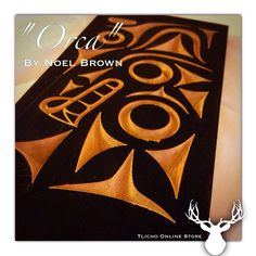 "Here is our giveaway cedar plank ""Orca"" by Noel Brown. To enter you must leave a comment! Draw will be Sept Please share! Tlingit, Indigenous Art, Native Art, Preston, Pacific Northwest, North West, Plank, Nativity"