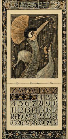 Calendar 1906 going to the zoo - Mart // March // Mars Description Physique: 1 calendar, 12 leaves : col. ill. ; 48 x 22 cm. Hoytema, Theodoor van, 1863-1917 ( illustrator ) Editeur: Tresling & Co. Date Éditée: 1906