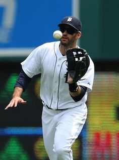 Detroit Tigers' J.D. Martinez catches a fly ball hit
