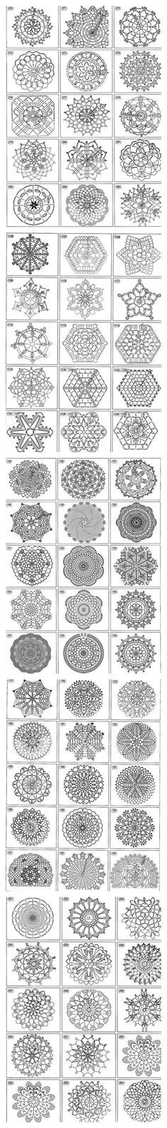 crochet motif, afghan squares, coasters, snowflakes, doilies, triangles stitch chart diagram patterns