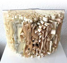 ₪ Paper Art Potpourri ₪ Scrolled Book Sculpture by All Things Paper Folded Book Art, Paper Book, Book Folding, Paper Art, Book Crafts, Arts And Crafts, Paper Crafts, Altered Books, Altered Art