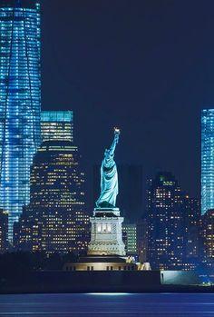 city, new york, and night-bilde