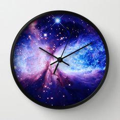 Galaxy Print Clock Galaxy Clock Blue Lavender by 2sweetsHomeDecor