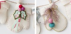 Felt mittens - cute idea for little gifts, a garland, gift tags,.....