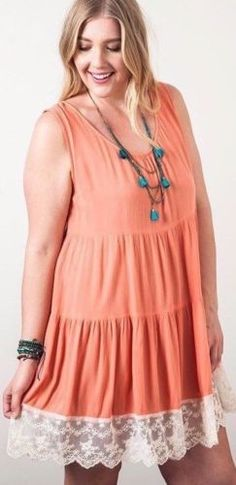 Kori-America-Plus-Size-Lace-Trim-Tank-Dress-Tiered-Keyhole-Back-Boho-PD1162 #Unique_Boho_Style
