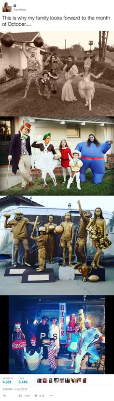 This Creative Family's Group Halloween Costumes are Actual Family Goals This Creative Family's Group Halloween Costumes are Actual Family Goals 3 DIY Group Halloween Costumes: Willy Wonka & The Chocolate Factory, Sports Trophies, and Circus Family Costume Halloween, Cute Halloween, Halloween 2017, Halloween Cupcakes, Holidays Halloween, Cool Costumes, Zombie Costumes, Homemade Halloween, 3 People Costumes