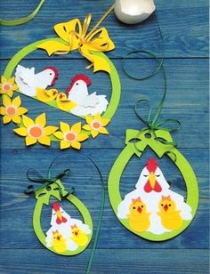 Cute Easter ideas from the paper! Kirigami chicken and rabbits for Easter ornaments and Easter cards. Easter Arts And Crafts, Spring Crafts, Cute Crafts, Diy And Crafts, Paper Crafts, Chicken Crafts, Easter Activities, Art For Kids, Easter Wreaths