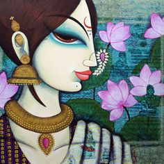 Buy beauty with lotus painting online - the original artwork by artist Varsha Kharatmal, exclusively available at Mojarto only. Lotus Artwork, Lotus Painting, Mural Painting, Pichwai Paintings, Indian Art Paintings, Phad Painting, Madhubani Art, Indian Folk Art, Madhubani Painting