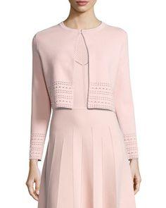 LELA ROSE Pointelle Knit Crop Cardigan, Light Pink. #lelarose #cloth #