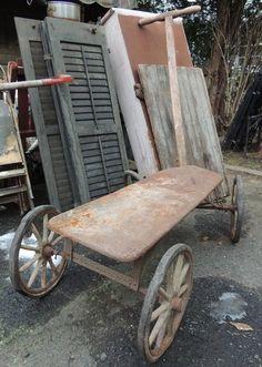 OLD Antique Wooden Wagon * Farm Cart * Spoked Wheels * Iron & Wood * Primitive