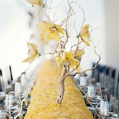 Look how perfect the basing of yellow roses is- next time if they spend a bit more time on cymbidium placement- they'll have it perfect-Manzanita Branches with Yellow Blooms Light Yellow Weddings, Yellow Wedding Dress, Wedding Colors, Wedding Flowers, Wedding Reception Decorations, Wedding Centerpieces, Wedding Ideas, Wedding Receptions, Yellow Centerpieces