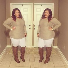What is wrong with the way she dresses? As a plus size, she should never wear a  round neck as it enlarges her bust and makes her look shorter from the neck down. Also the boots are squeezing her into a pointed pencil look. They should be ankle boots. The white as pants is a very big mistake. White always enlarges things. Wear a v collar, same length of sweater, dark pants, ankle boots and a slim shawl or a jacket would make it perfect