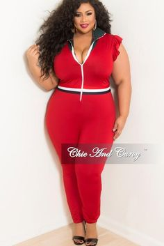 b27192fdc46 New Plus Size Wine Ruffle Sleeves Zip Red Jumpsuit with Navy