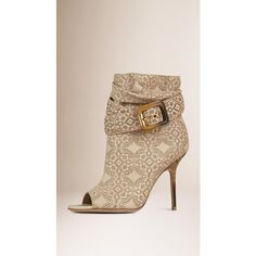 Burberry Laser-cut Lace Lambskin Peep-toe Ankle Boots ($1,325) ❤ liked on Polyvore featuring shoes, boots, ankle booties, high heel boots, slouch boots, peep-toe booties, high heel booties and peep toe booties