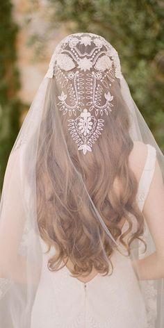 Boho Veil Claire Pettibone bohemian embroidered Boho bridal veil shown with our lace Toscana wedding dress. Western Wedding Dresses, Bohemian Wedding Dresses, Wedding Veils, Bridal Dresses, Bridal Veils, Wedding Cape Veil, Wedding Garters, Bohemian Bride, Dress Wedding
