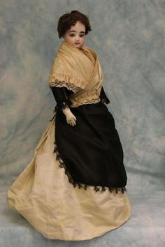 """Antique 17"""" French Fashion Bisque Doll FG Size 2 with Leather & Cloth Body"""