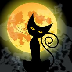 Cute Halloween Black Cat And Full Moon Stock Vector - Illustration of mystery, celebration: 35598936 Cute Halloween Images, Whimsical Halloween, Halloween Artwork, Scary Halloween Decorations, Halloween Wallpaper, Halloween Friday The 13th, Halloween Cat, Paper Halloween, Halloween Stuff