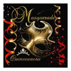 Quinceanera 15th Masquerade Red Gold Mask Invitation