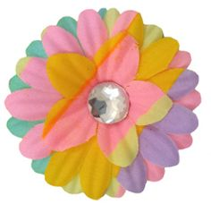 """Pastel Crystal Daisy Flower Hair Clip, 2"""" - $1.25"""