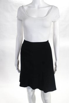 Milly Black Wool Trumpet Skirt Size 10  | eBay