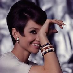 Audrey in the late '60s wearing enamel bangles, probably by Schlumberger. Proving that everything old is new again, enamel bracelets are all over the place these days. I saw some not too unlike these at Target recently!