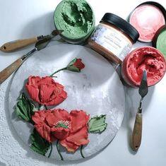 Plaster Sculpture, Plaster Art, Sculpture Painting, Texture Painting On Canvas, Palette Knife Painting, Cold Porcelain Flowers, Decoupage Art, Knife Art, Painted Cakes