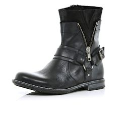 Boys black biker boots - boots - shoes / boots - boys