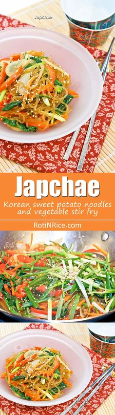 Japchae is a popular Korean sweet potato noodles and vegetable stir fry. Delicious as is or with a bowl of rice. Only 30 minutes to prepare. | http://RotiNRice.com