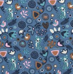 Baumwolljersey süßer Sleeping Panther mit Blumenmuster Vögel auf blau