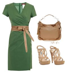 """""""Green Dress"""" by styleofe ❤ liked on Polyvore featuring MaxMara, Isabella Oliver, Warehouse and Prada"""