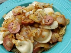 Cabbage, Kielbasa and Pierogies - easy weeknight meal for when we're craving some good ol Polish food.