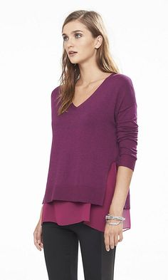 Marl Fabric Mixed V-neck Sweater | Express