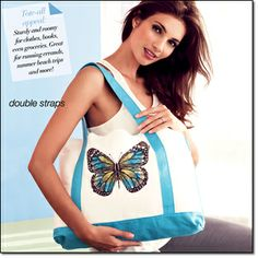"""Earthly Paradise Tote Bag Screen-printed butterfly-embellished sturdy cotton canvas tote with reinforced handles. 20"""" W x 2 3/4"""" H x 3 3/4"""" D; handle drop, 8 1/4"""". Item#: 088-177 Brochure: intro special $14.99 Will be $19.99"""
