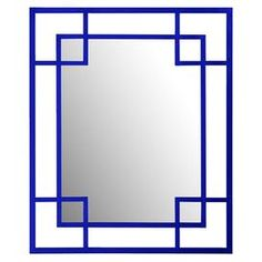 """Rectangular wall mirror with lacquered royal blue trim.  Product: Wall mirrorConstruction Material: Resin and mirrored glassColor: Royal blueFeatures:  Simple, architectural designGlossy lacquered trim Dimensions: 53"""" H x 43"""" WCleaning and Care: Wipe with soft cloth"""