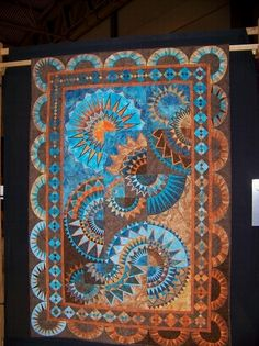 New York Beauty. Love the color blend. Mexican Sunset by Margit Schommers Claudio Pfeil (Longarm) Erfstadt, Germany Star Quilts, Quilt Blocks, Circle Quilts, Square Quilt, Quilting Projects, Quilting Designs, Quilting Ideas, Southwest Quilts, Southwest Style