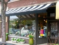 Careful Peach in Oak Park on Little Independent - striped awning - home decor shop - inviting retail storefront