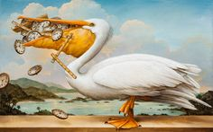 """Kevin Sloan - """"Birds of America: The Worrier"""" 2013 Acrylic on canvas. Courtesy of the artist, Denver, Colorado. Learn more about this piece and why it was included in Ambassador Berry's @ArtInEmbassies collection: http://youtu.be/S51BgkrCUqg #Art #Wildlife #Conservation"""