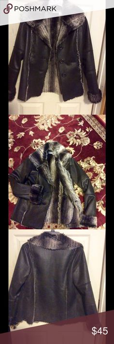 Faux suede fur lined jacket This is a really nice jacket it's espresso brown otherwise really dark brown really soft faux fur it's been worn once it's a little to tight for me it's a size 0 but probably would fit a small to medium I'm just large up top Chico's Jackets & Coats Utility Jackets