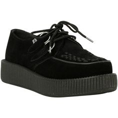 T.U.K. Black Suede Low Sole Viva Creepers (555 GTQ) ❤ liked on Polyvore featuring shoes, creepers, hot topic, black creeper shoes, flexible shoes, black woven shoes, light weight shoes and t u k shoes