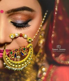 What a gorgeous piece of jewelry Makeup by Photography by Bridal Nose Ring, Nose Ring Stud, Nose Rings, Bridal Accessories, Bridal Jewelry, Gold Jewelry, Jewelry Accessories, Jewellery, Bridal Dupatta