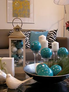 Christmas balls in lanterns...use any color.