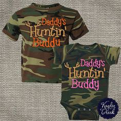 Mommy's hunting buddy ;-).  Camo Onesie or Camo Tee infant and Toddler Neon by KaydonCreek, $27.00