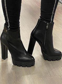 Got The Look, Chunky Heels, Black Heels, Color Black, Footwear, Platform, Toe, Booty, Zipper