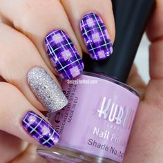 Purples and silver plaid nails with glitter accent nail They almost look like flowers!