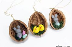 Set of 3 Easter decorations Easter chick Easter egg Easter bunny Easter Holiday Gift Easter Ornament Easter Decorations Home Decor  They are handmade from polymer clay and nutshell You will receive a set of 3 owl ornaments. The approximate size of each ornament is 4cm. The walnuts have a different sizes, because they are natural.  More ORNAMENTS: https://www.etsy.com/shop/Velwoo?section_id=16913364&ref=shopsection_leftnav_1  °°walnut-shell = 3.5- 4 cm (1...