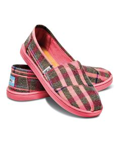 Another great find on #zulily! TOMS Pink Plaid Wool Classics - Youth by TOMS #zulilyfinds